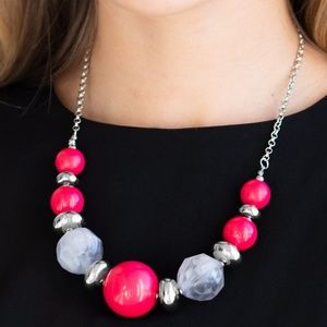 Daytime Drama - Pink Necklace & Earrings